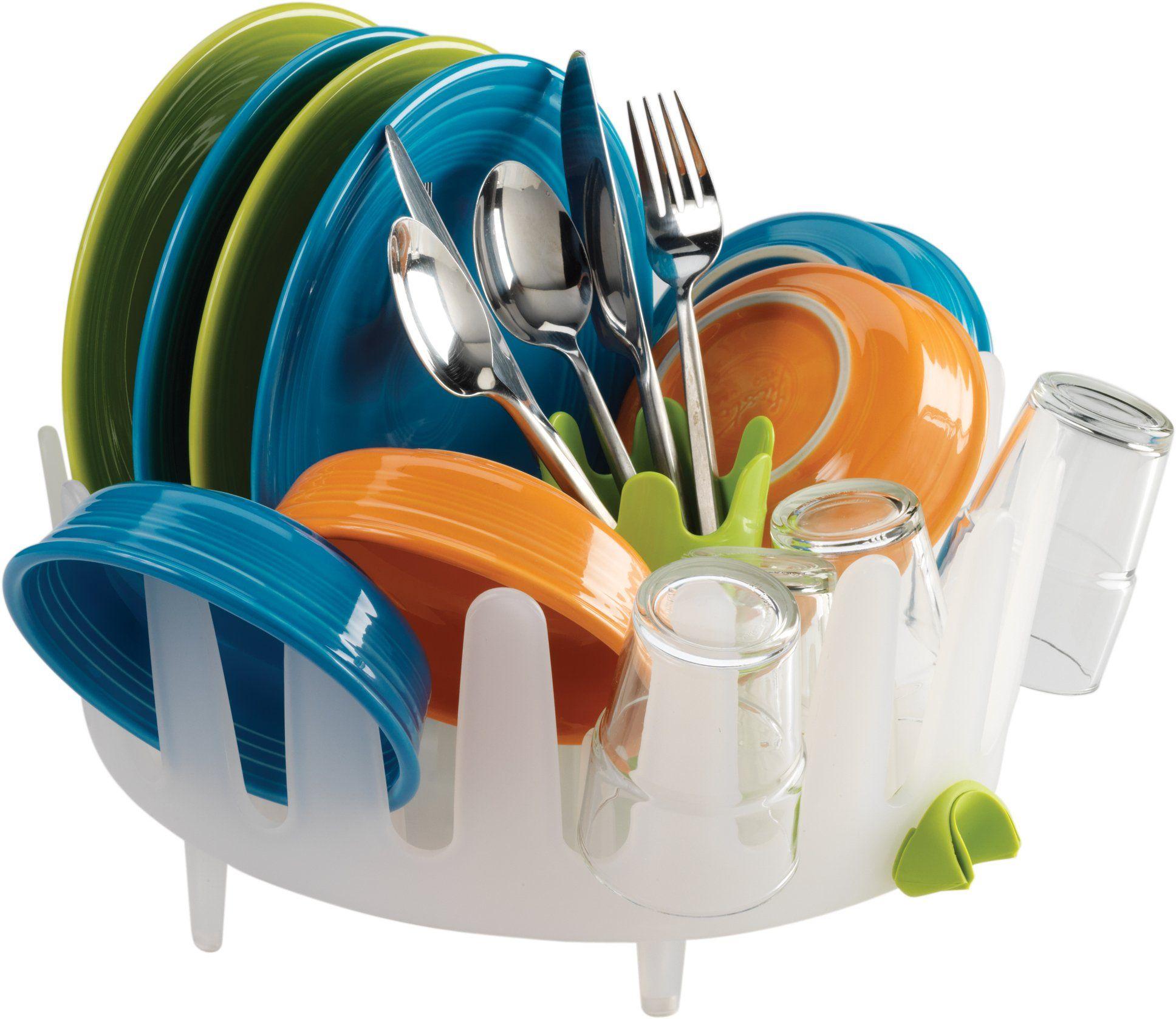 Dish Garden Round Compact Dishrack Drainer & Cutlery Basket 34cm ...