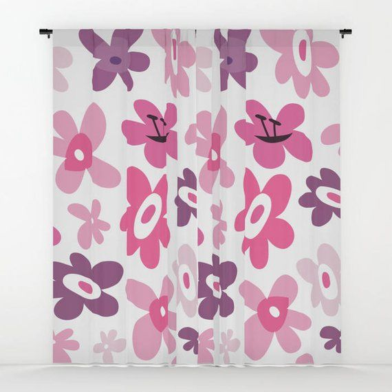 Pink Flowers Curtains Pink Window Curtains Flower Window Curtains