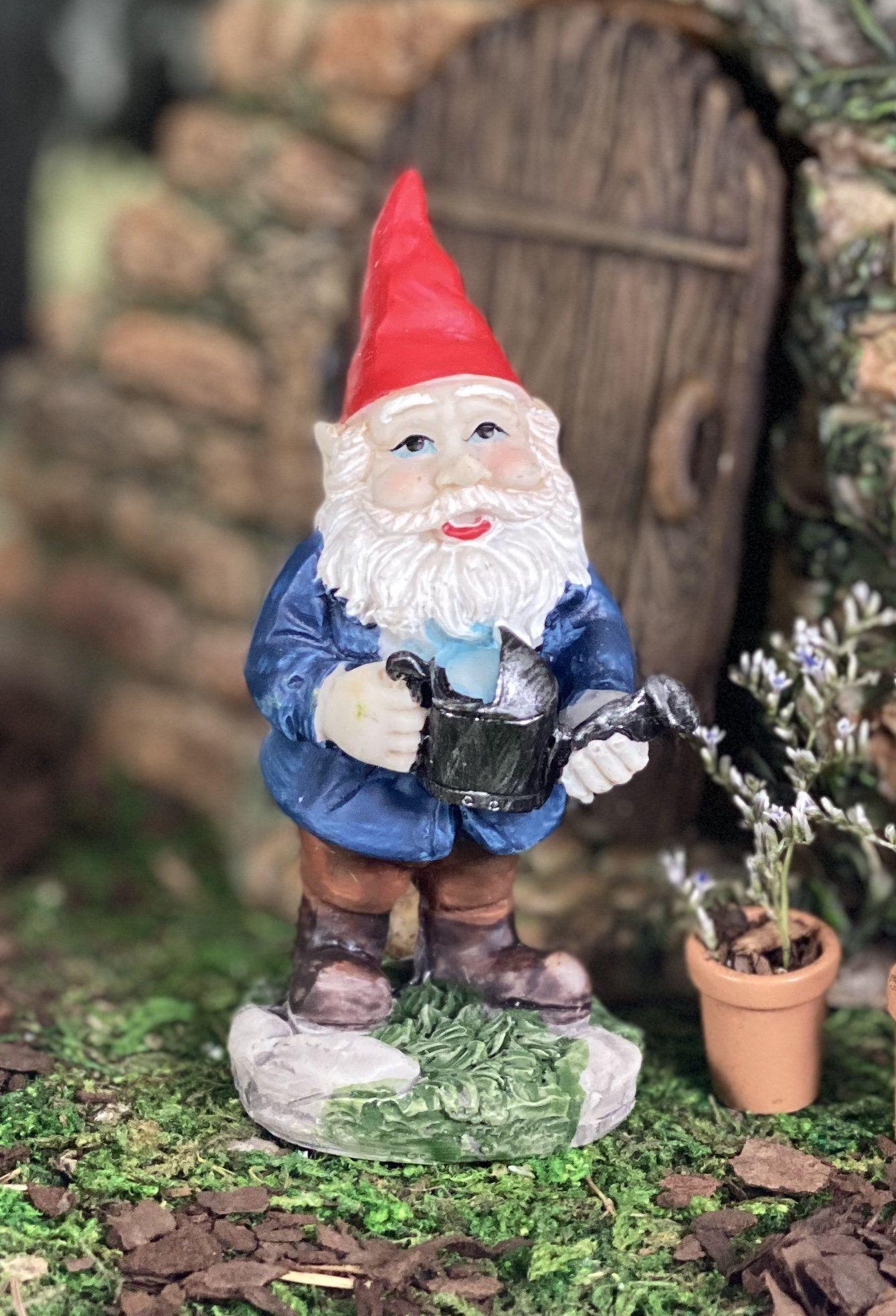 Watering Can Garden Gnome Figurine Garden Gnome Decor Fairy Garden Village Display Gnome Garden Display Miniature Fairy Garden Supply