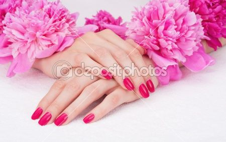 Manicure With Pink Fingernails And Peony Flowers By Zoia