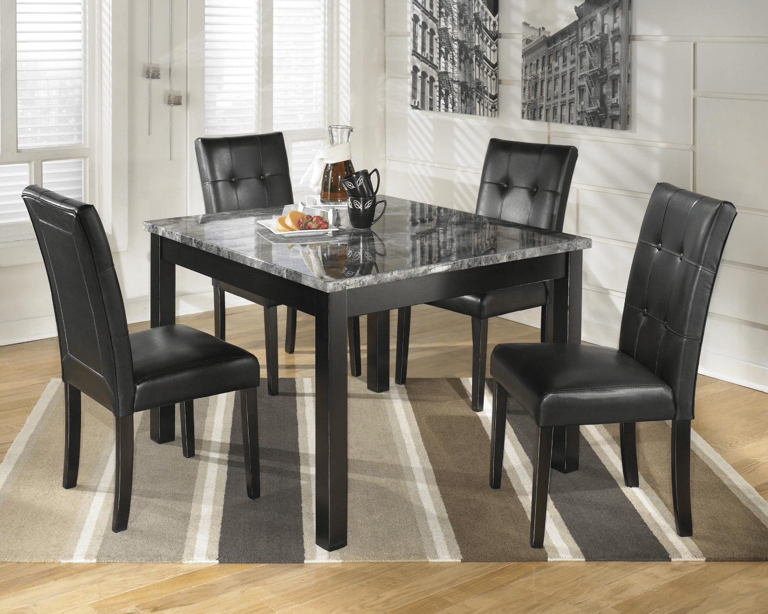Beau Black Faux Marble Top Dining Table
