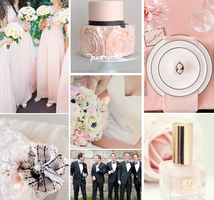 Pink And Black Wedding Insiration Board Champagne Sweets