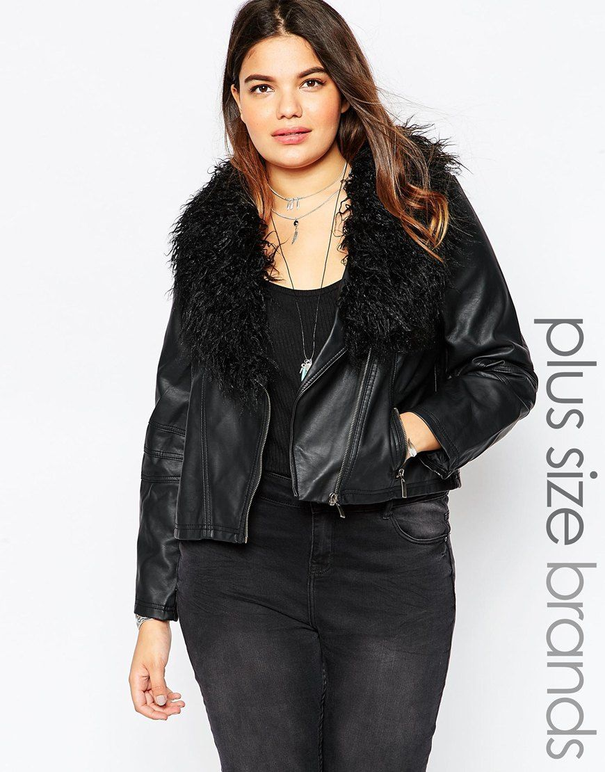 Image 1 ofNew Look Inspire Leather Look Biker Jacket With Mongolian Faux Fur Collar