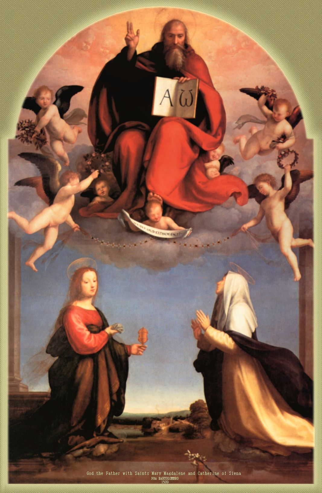 Arte Sacro Moderno God The Father With Saints Mary Magdalen And St Catherine