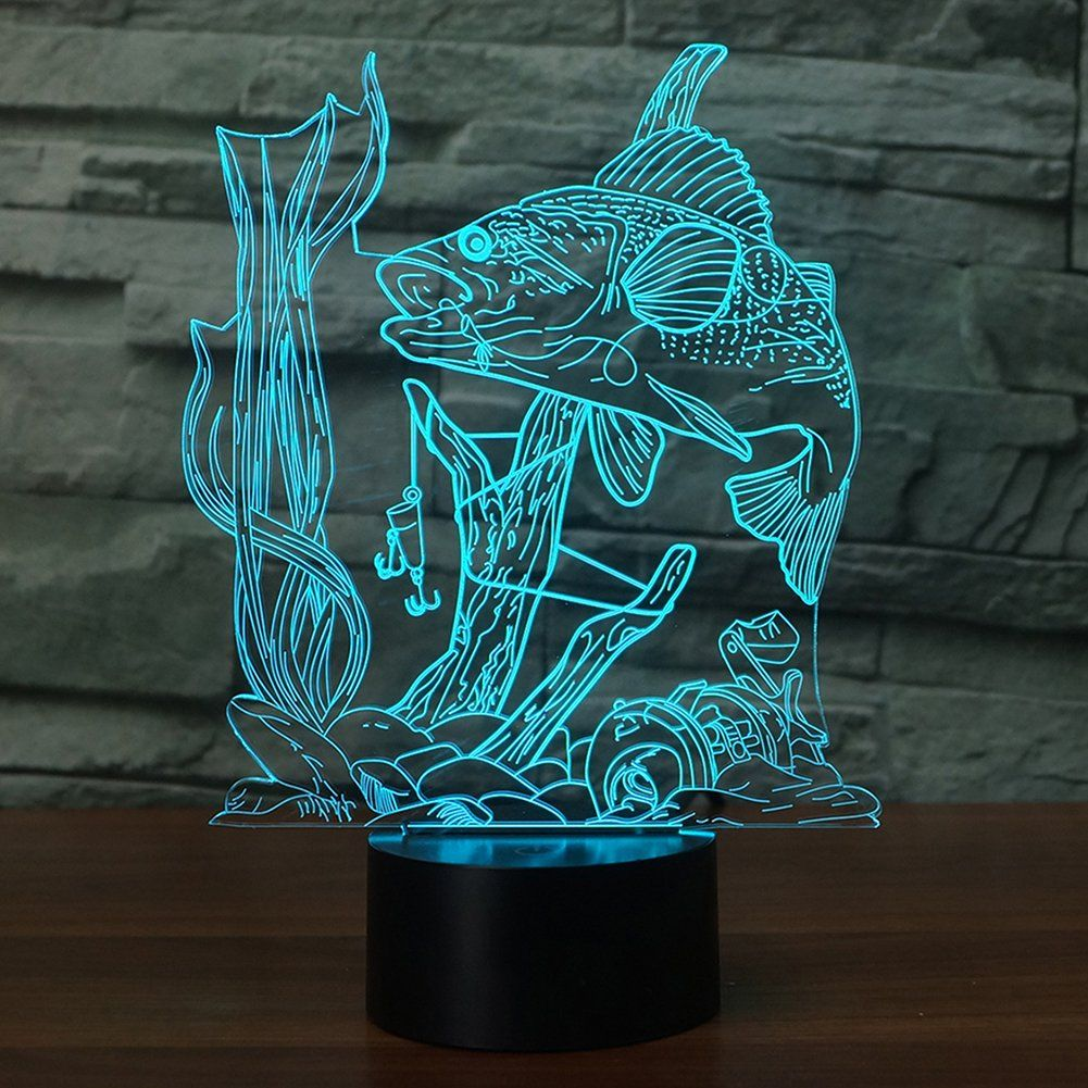 3d Fishing Lamp Illusion Night Light Led Touch Fish Desk Table Lamps 3d Optical Illusions Night Light Illusions