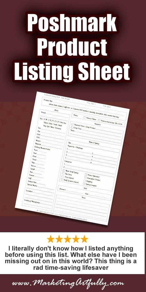 poshmark products listing sheet poshmark seller form listing