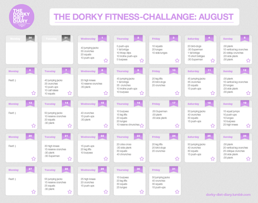 dorky diet diary the dorky fitness calendar my august workout plan