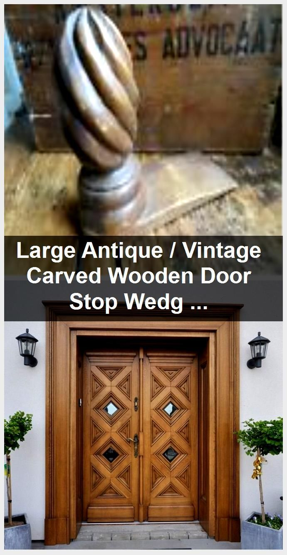 Photo of Stor antikk / vintage skåret tre dørstopp kile Treen, #Antik #Carved # door #Large # …