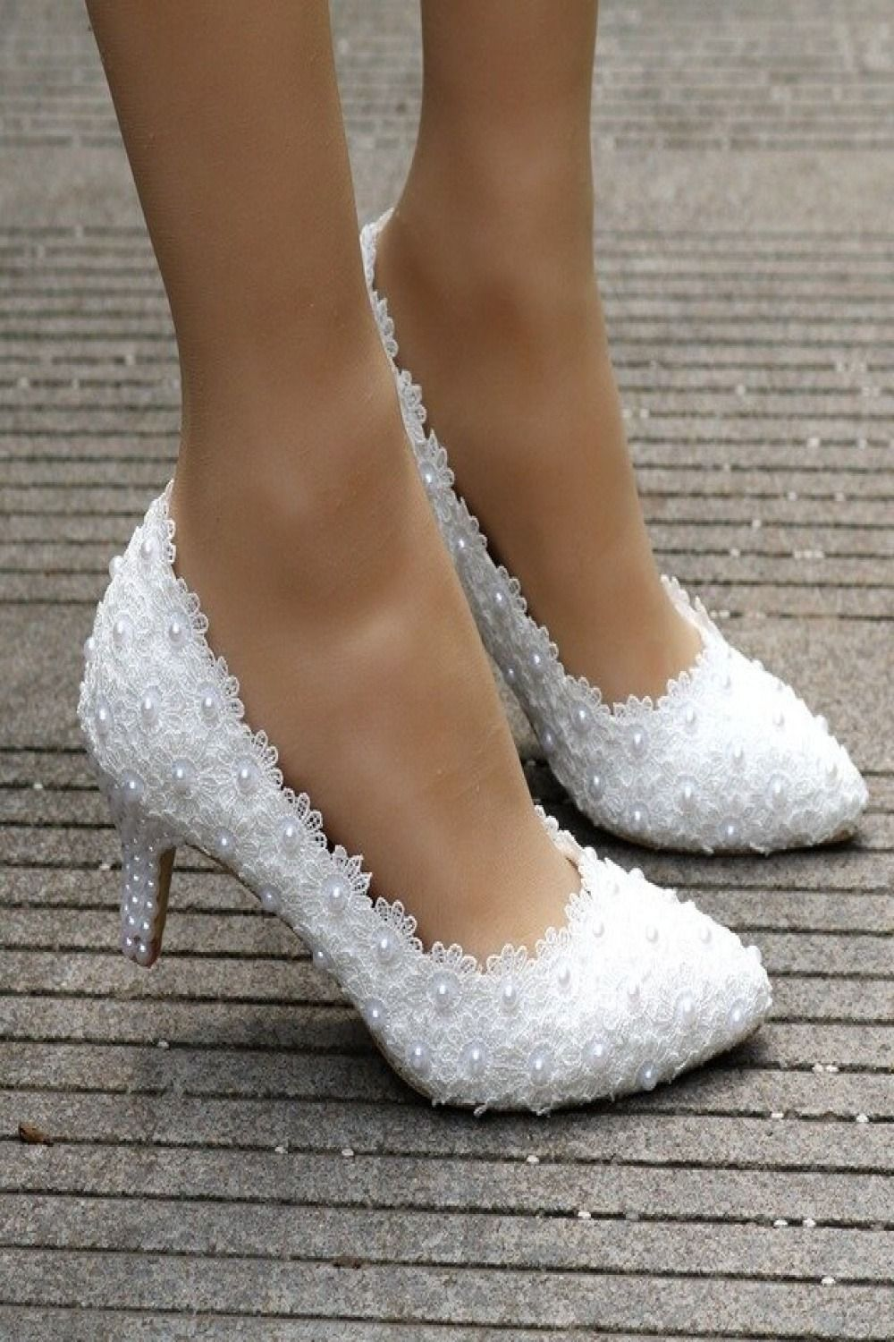 Kitten Heel Girl Dress Shoes White Pink Lace Flower Party Prom Wedding Bridal Bridesmaid Shoes Wedding Shoes Lace Bridal Shoes Wedding Shoes