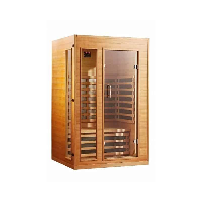 SUNHEAT Ultra-Low EMF 2 Person Sauna with Dual Touch Panel Controls and LED Display #touchpanel