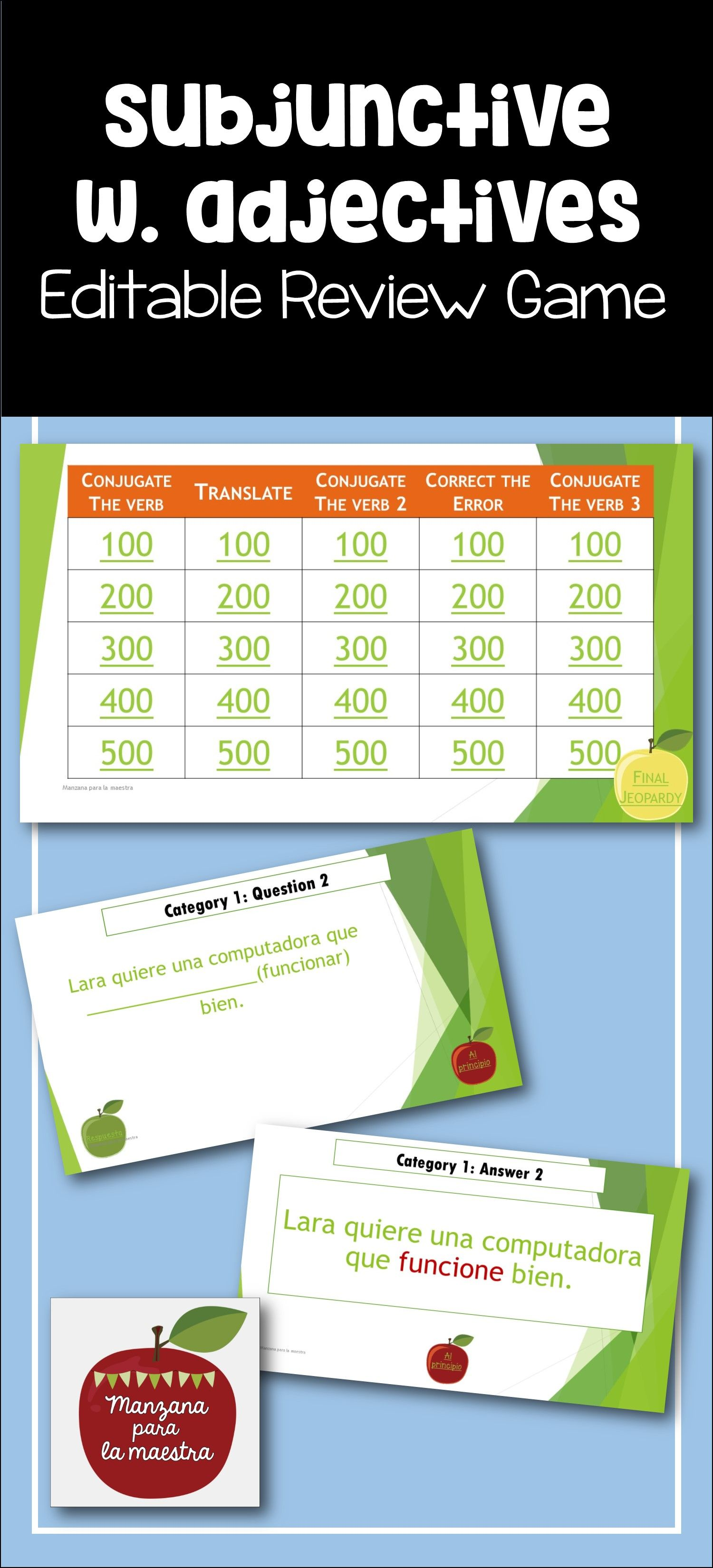Spanish Subjunctive With Adjectival Phrases Editable Review Game El Subjuntivo Review Games El Subjuntivo Spanish Teaching Resources [ 3300 x 1500 Pixel ]