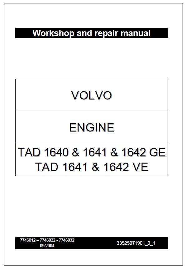 Volvo Engine Tad 1640 1641 1642 Ge Tad 1641 1642 Ve Workshop Service Repair Manual Repair Manuals Repair Manual