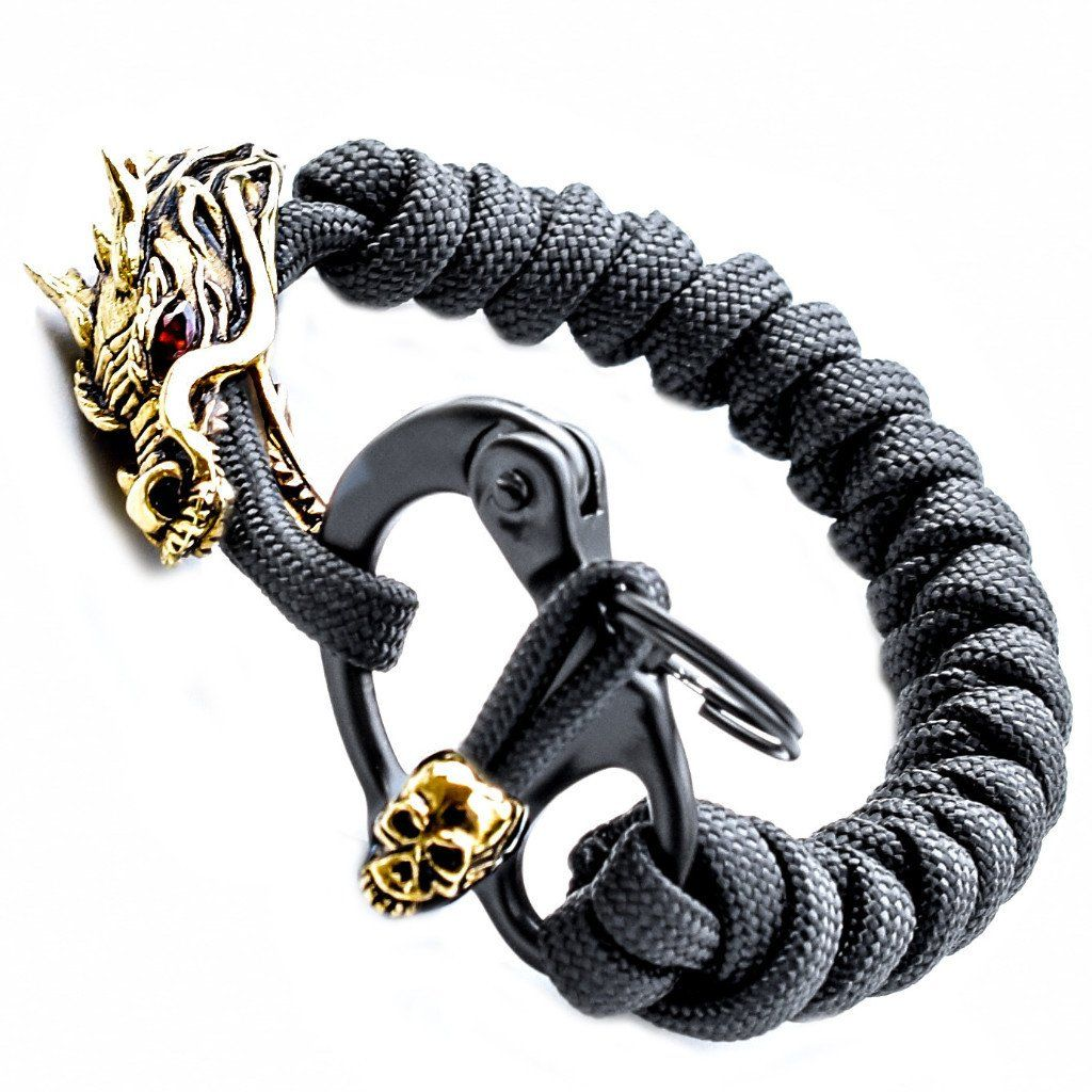 1 Handcrafted Dragon in Silver with Gold Plating Snake Knot Black Mini Snap Shackle Gold Plated Joe Skull on Cord Pull...