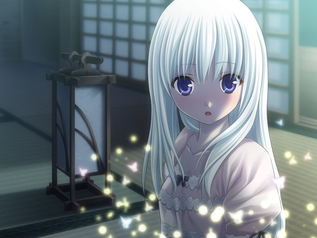 White Hair Blue Eyes Asairo Yori Mo Girl Long Hair Blue Eyes Game Cg White Hair Jpg Anime Anime Child Anime Boy