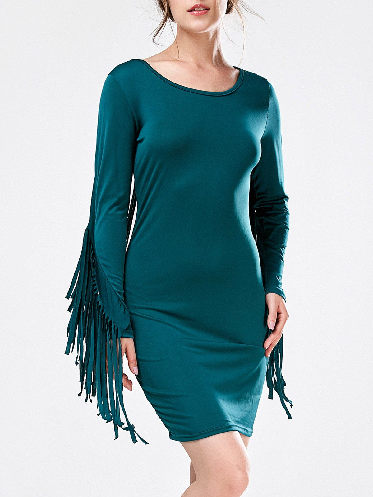 Long sleeve mini fringed bodycon dress products minis and dresses