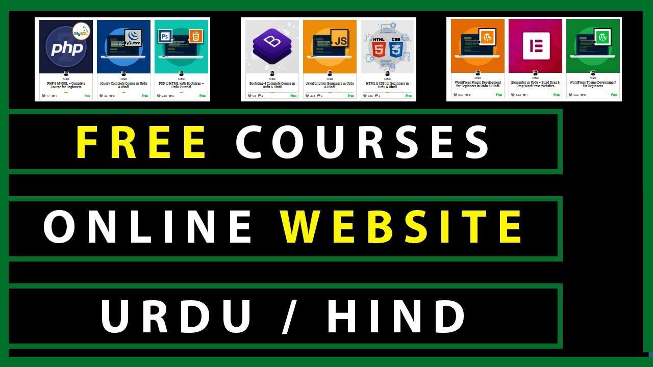 Free Online Courses 2020 Urdu Hindi In 2020 Free Online Courses Online Courses Online Courses With Certificates