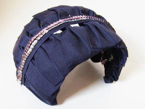 Vintage 1940s NAVY BLUE Grosgrain Ribbon Demi Fascinator Half Headband HAT with Silver & Pink Sequins..Burlesque Pin Up Mad Men. $43.00, via Etsy.