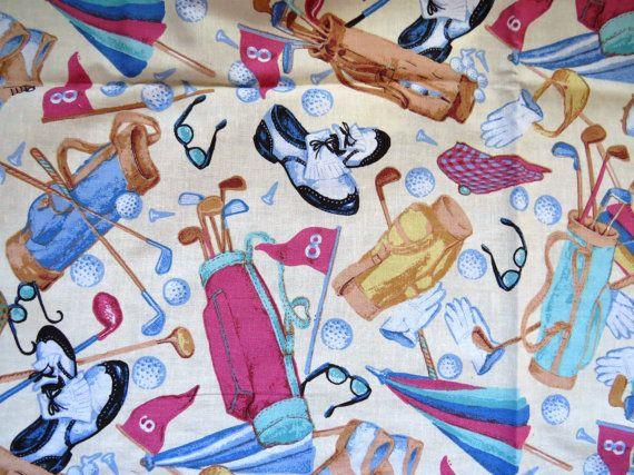 Golf Theme Fabric by Daisy Kingdom 1.2 yards by shabbyshopgirls