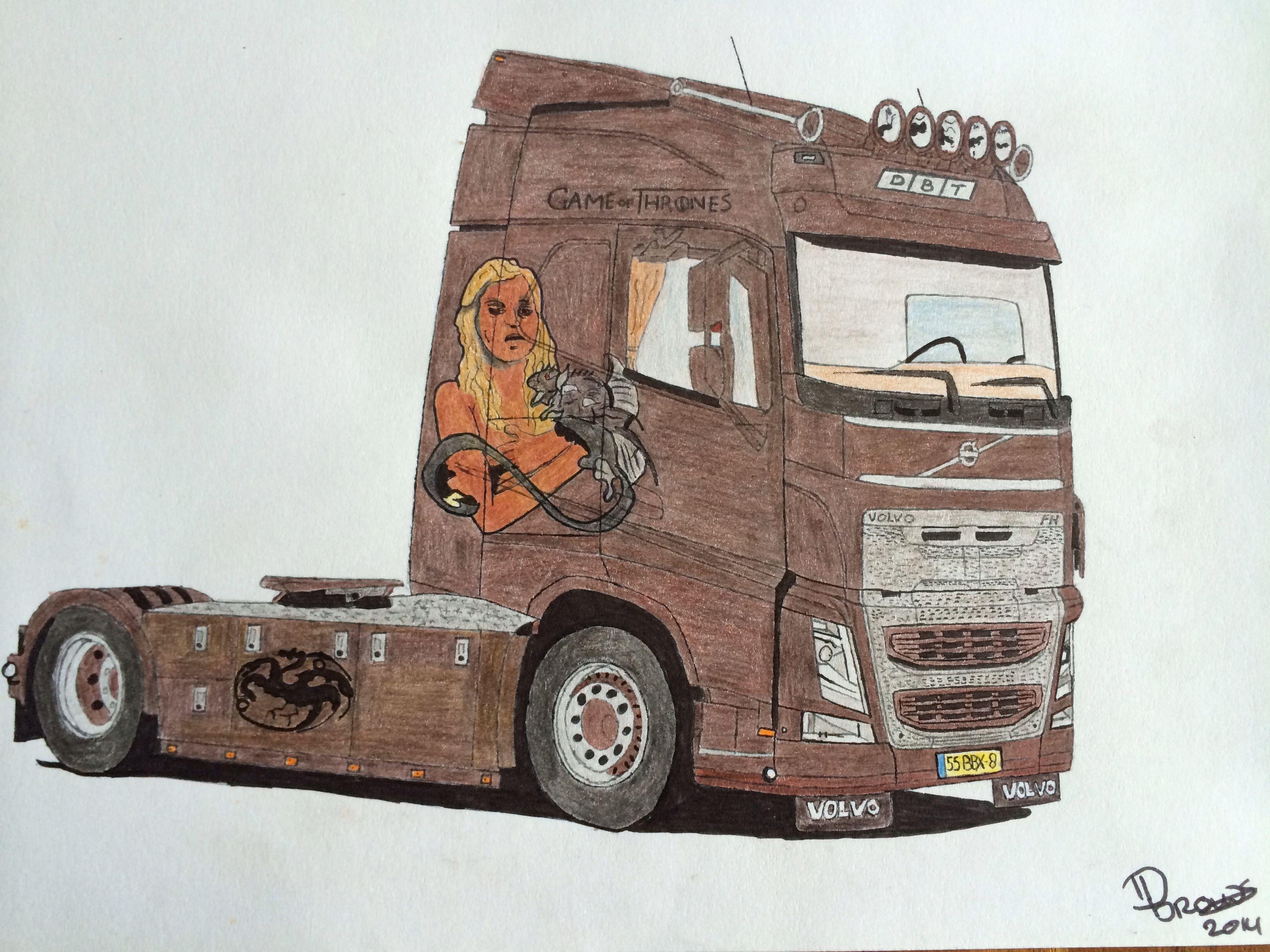 Volvo Fh 2014 Game Of Thrones Pencil Drawing Caminhao Desenho Desenho Motos