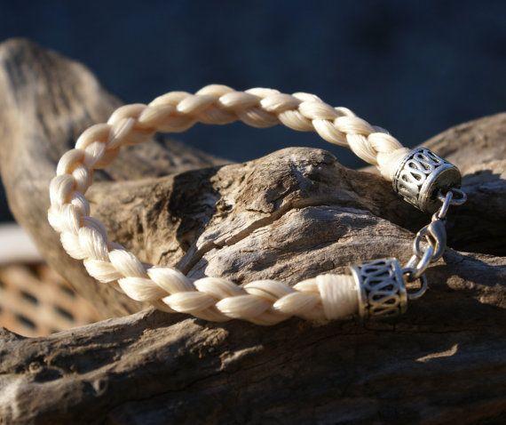 Blondine geflochten Rosshaar Armband mit von HazelsHandcrafted