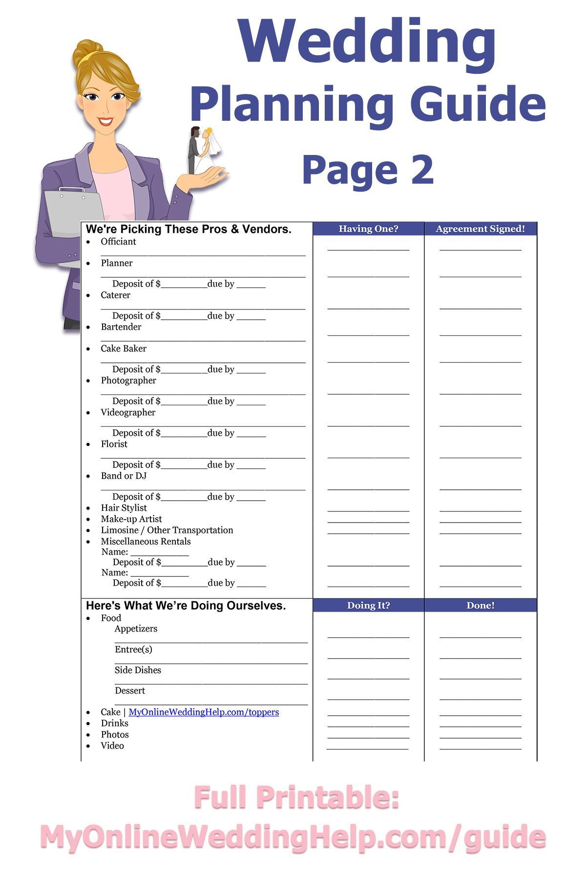 Free printable wedding planning guide diy wedding planning no diy wedding planning checklist is complete without a way to decide on ceremony and receptions solutioingenieria Images