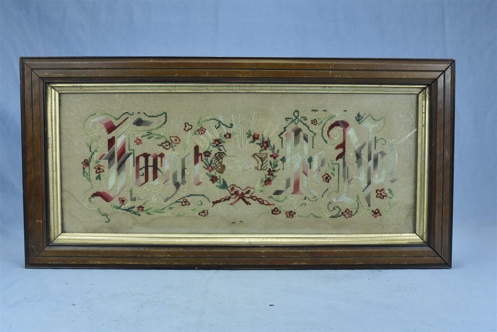 Antique VICTORIAN FORGET ME NOT EMBROIDERED PAPER SAMPLER MOTTO ...