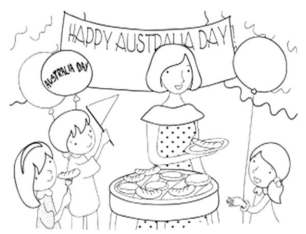 Australia Day With Family Coloring Page | Kids Coloring Pages ...