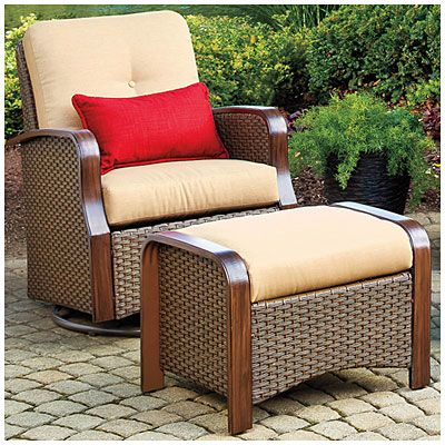 Wilson Fisher Tuscany Resin Wicker Set Of 2 Cushioned Glider Chairs With Ottomans At