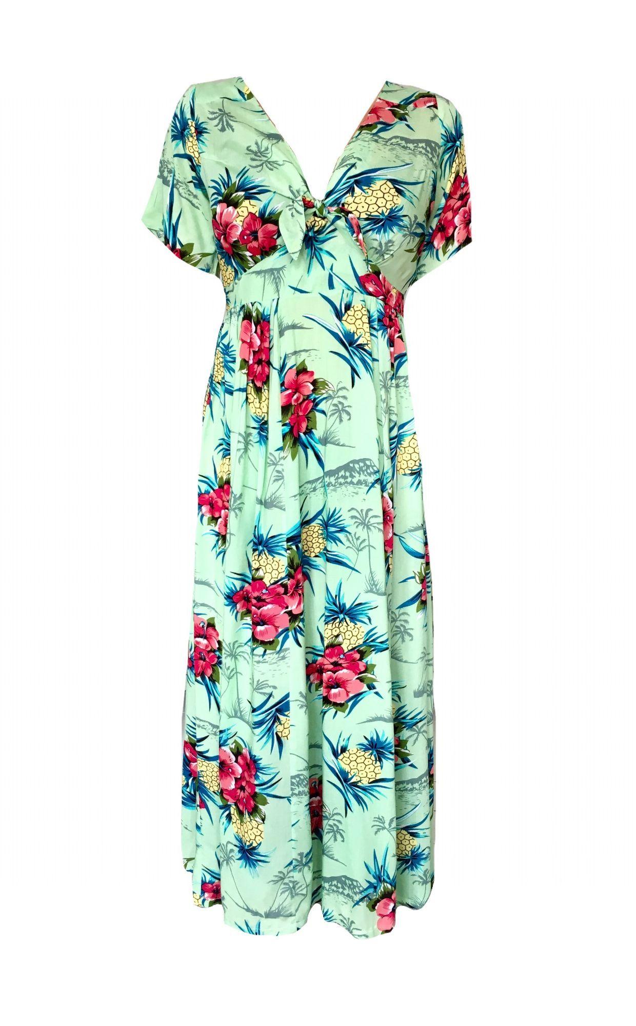 boho tie up maxi dress green hawaiian in a word with