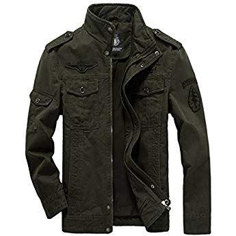 Merciy Herren Casual Cotton Jacke, Blouson, Grün X Large