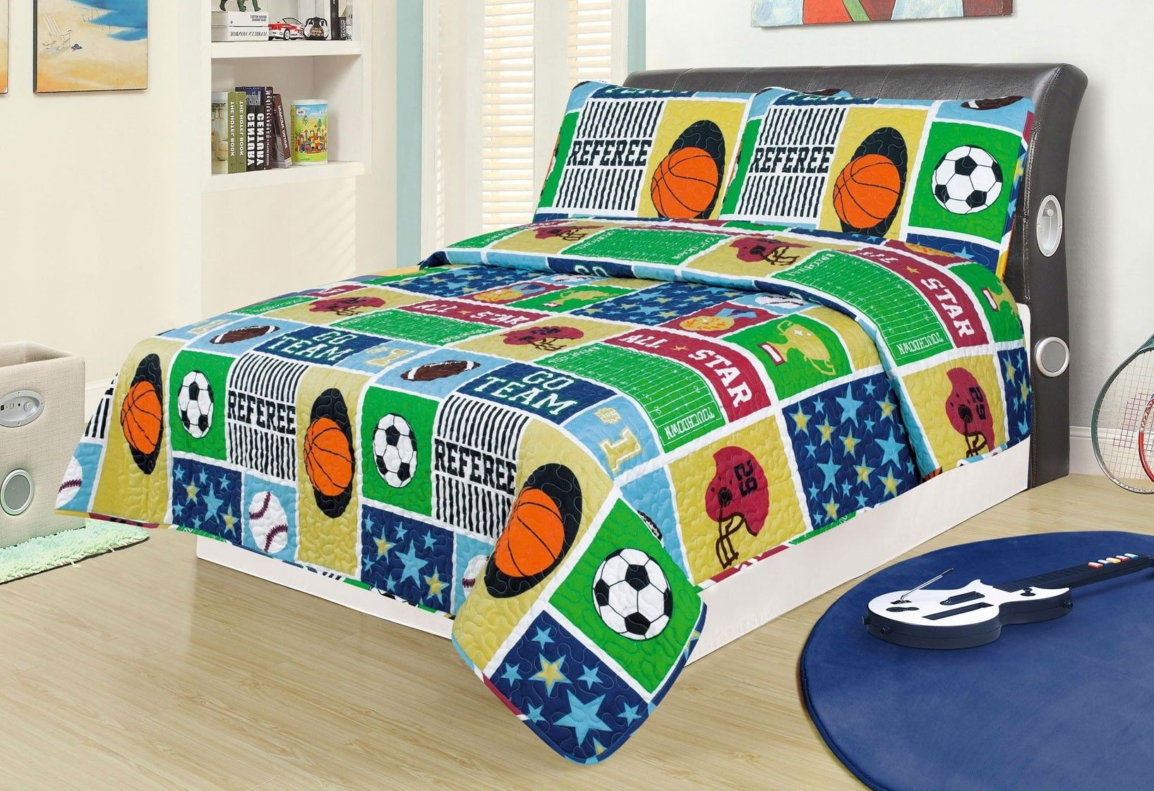 Boys Twin Size # 5 Elegant Home Decor Elegant Home Kids Multicolor Orange Red Blue Green Beige Sports Soccer Hockey Basketball Baseball Design Fun Colorful 2 Piece Coverlet Bedspread Quilt for Kids