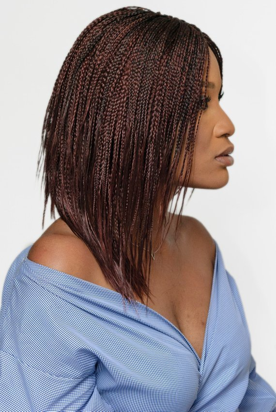 Feathered Bob Wig Burgundy Dark Brown Cornrows Braids In