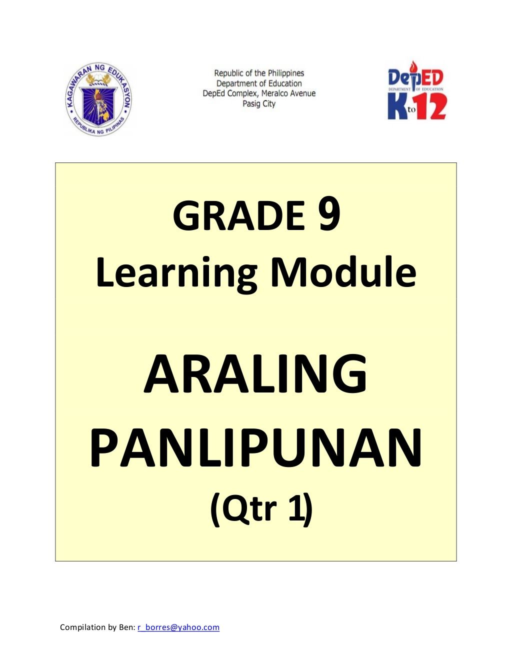 hight resolution of Grade 9 Learning Module in Araling Panlipunan - Quarter 1 only   High  school lesson plans