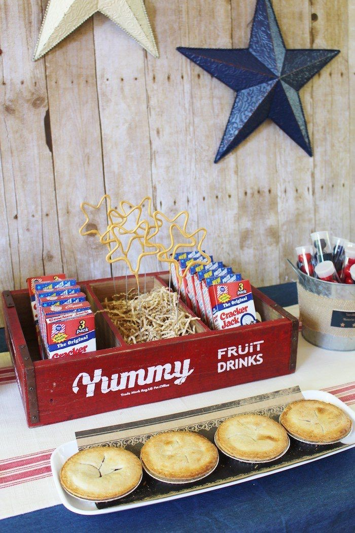Pies And Cracker Jacks From Patriotic Memorial Day Backyard BBQ - Backyard bbq party ideas