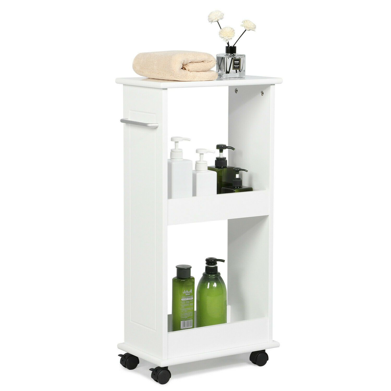 Details About Slimline Rolling Storage Shelf Gap Cart Bathroom Kitchen Narrow Space Organizer In 2020 With Images Toilet Shelves Laundry Rack Storage Shelves