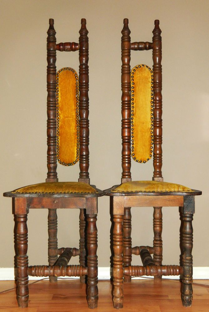 Old Vintage High Back Hall Chair Pair Jacobean Gothic Marked Mexico Antique  #Jacobean #Unknown