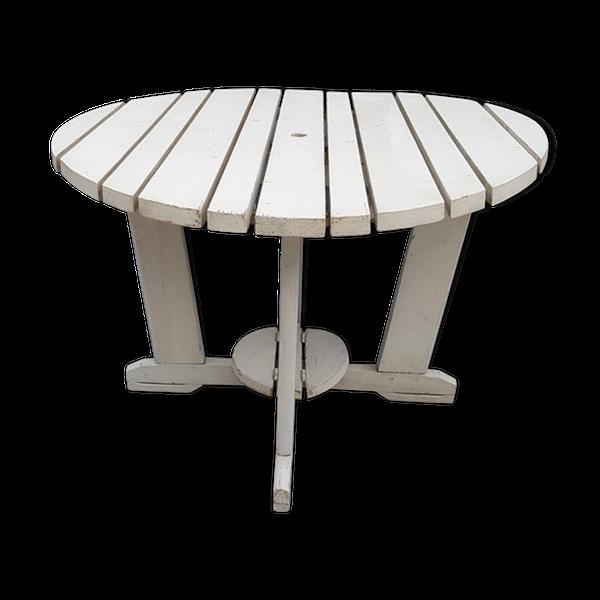 Ancienne table pliante de jardin a lattes de bois peint ...