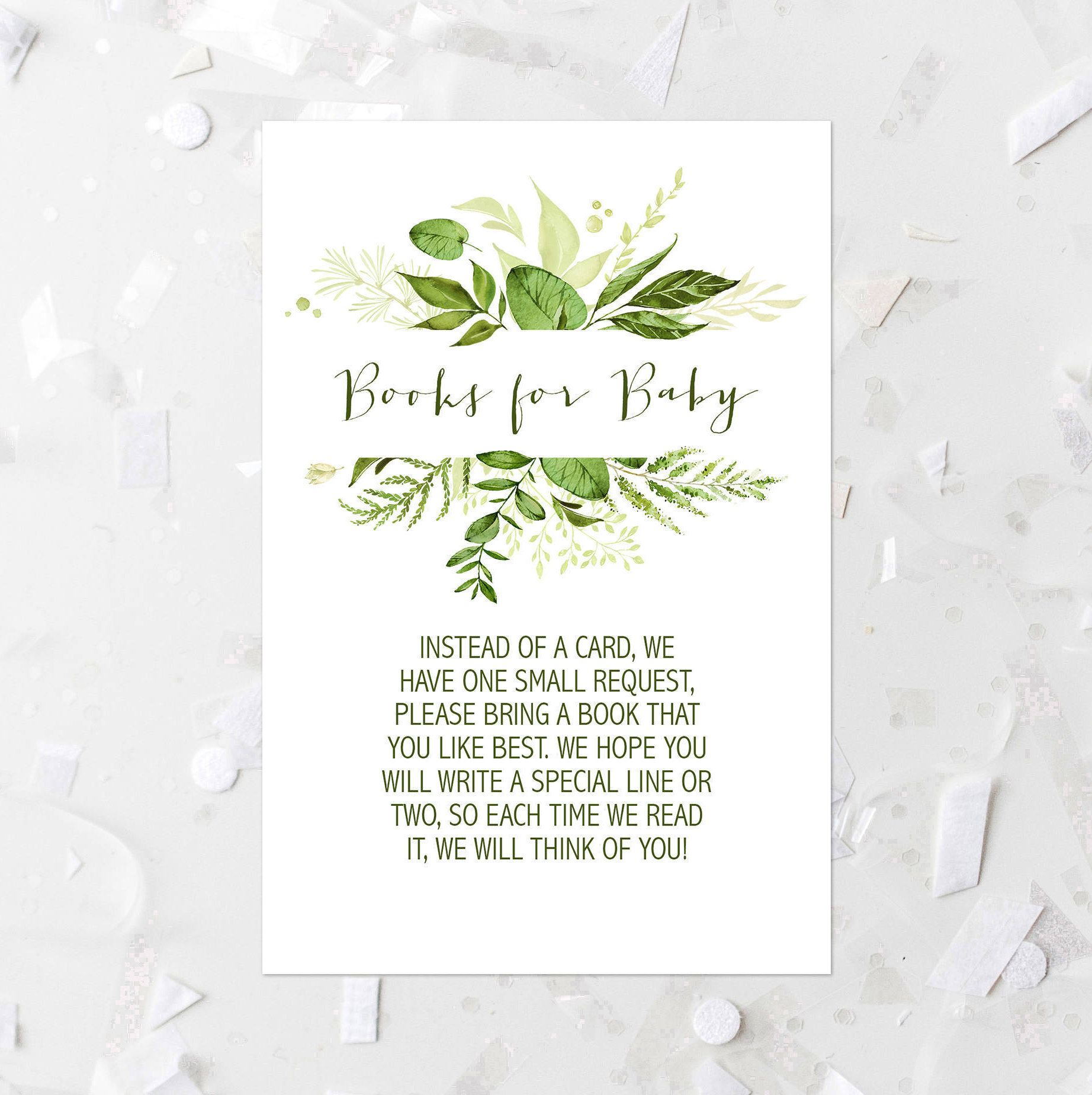 Books For Baby Request Printable Greenery Books For Baby Insert