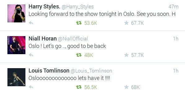 Their tweets about tonight's concert in Norway!