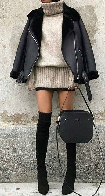 #winter #outfits women's beige knitted sweat shirt and black leather jacket