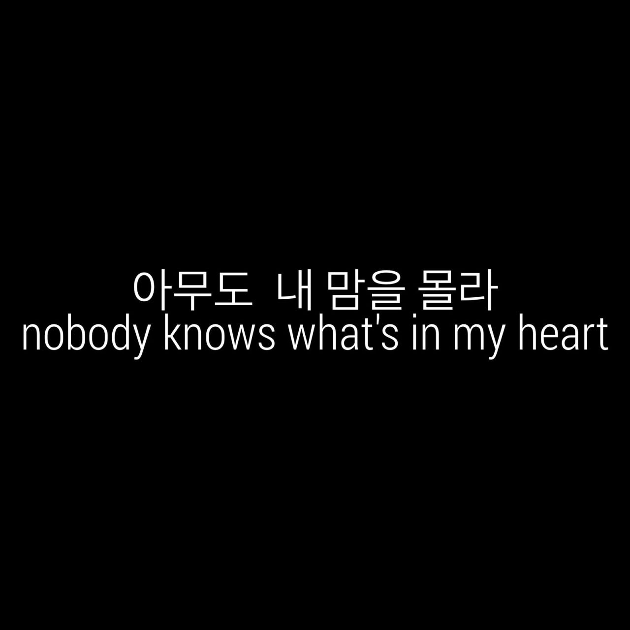 "̕""무도 ˂´ ˧˜ì"" ˪°ë¼ Nobody Knows What S In My Heart Korean Quotes Korea Quotes Japanese Quotes Mask up my pain, hold back my tears i'm going insane; 아무도 내 맘을 몰라 nobody knows what"