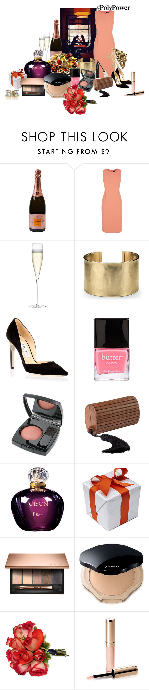 """Power!"" by lellablue ❤ liked on Polyvore featuring Jaeger, LSA International, Blue Nile, Jimmy Choo, Butter London, Chanel, Nina Ricci, Christian Dior, Shiseido and By Terry"