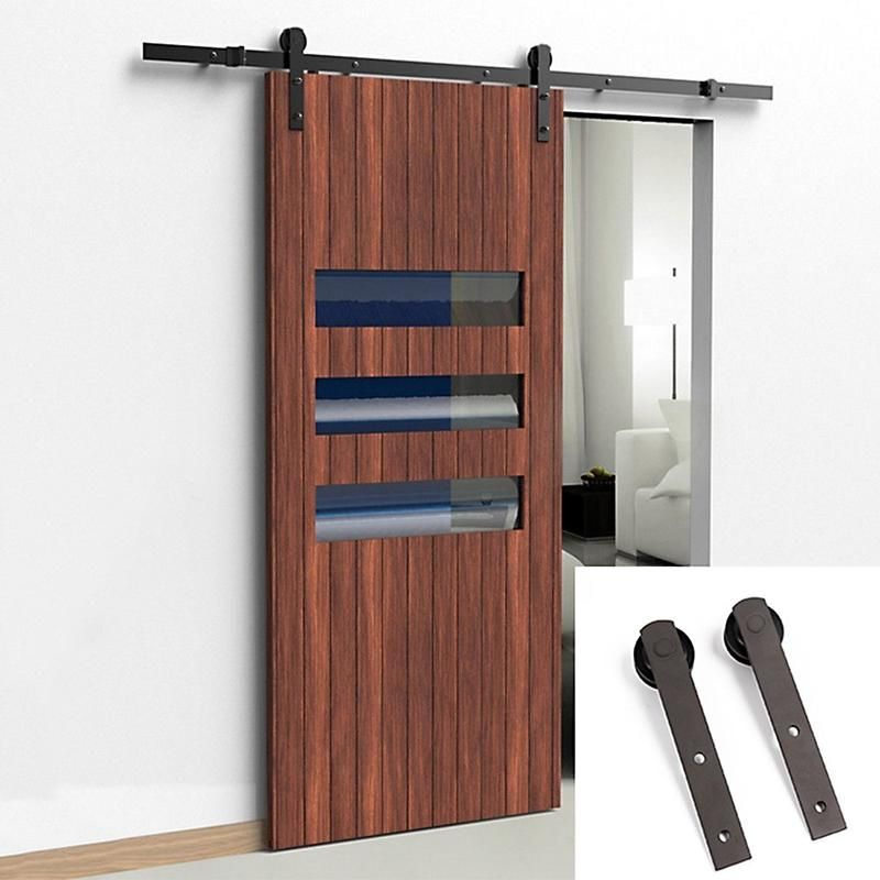 5 12 Ft Sliding Barn Wood Door Hardware Kit Smoothly And Quietly Barn Door Hardware Sliding Door Hardware Track Sliding Barn Door Hardware