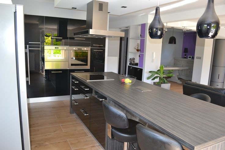 Idée relooking cuisine \u2013 Cuisine moderne avec vaste îlot central - Cuisine Moderne Avec Ilot Central