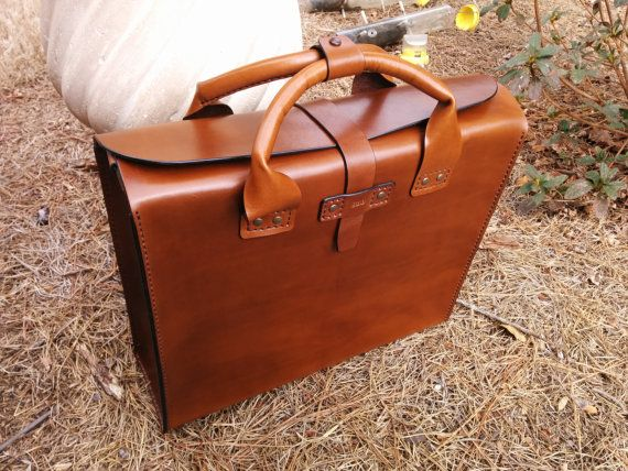 Items similar to Leather Brief Case - Genuine Leather Handmade