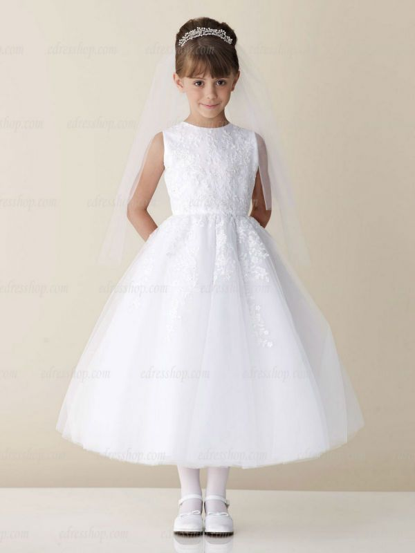 bfcc57efa White Girl's first communion dress Tea length Ball Gown Catholic communion  dress US $79.99 - 94.99