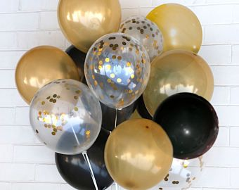Gold and black marble confetti balloon wedding party for Goud zwart versiering