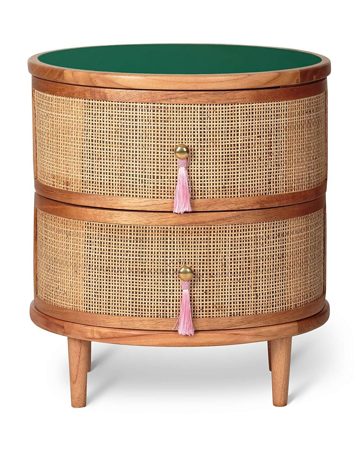 Kinship Rattan Green Bedside Table (With images) Green