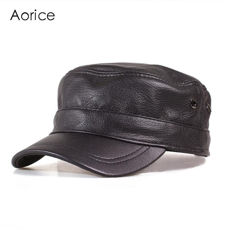 2fa1d91b06712 Aorice Genuine Leather Men Baseball Cap Winter Hat High Quality Men Real  Sheep Skin Women Solid