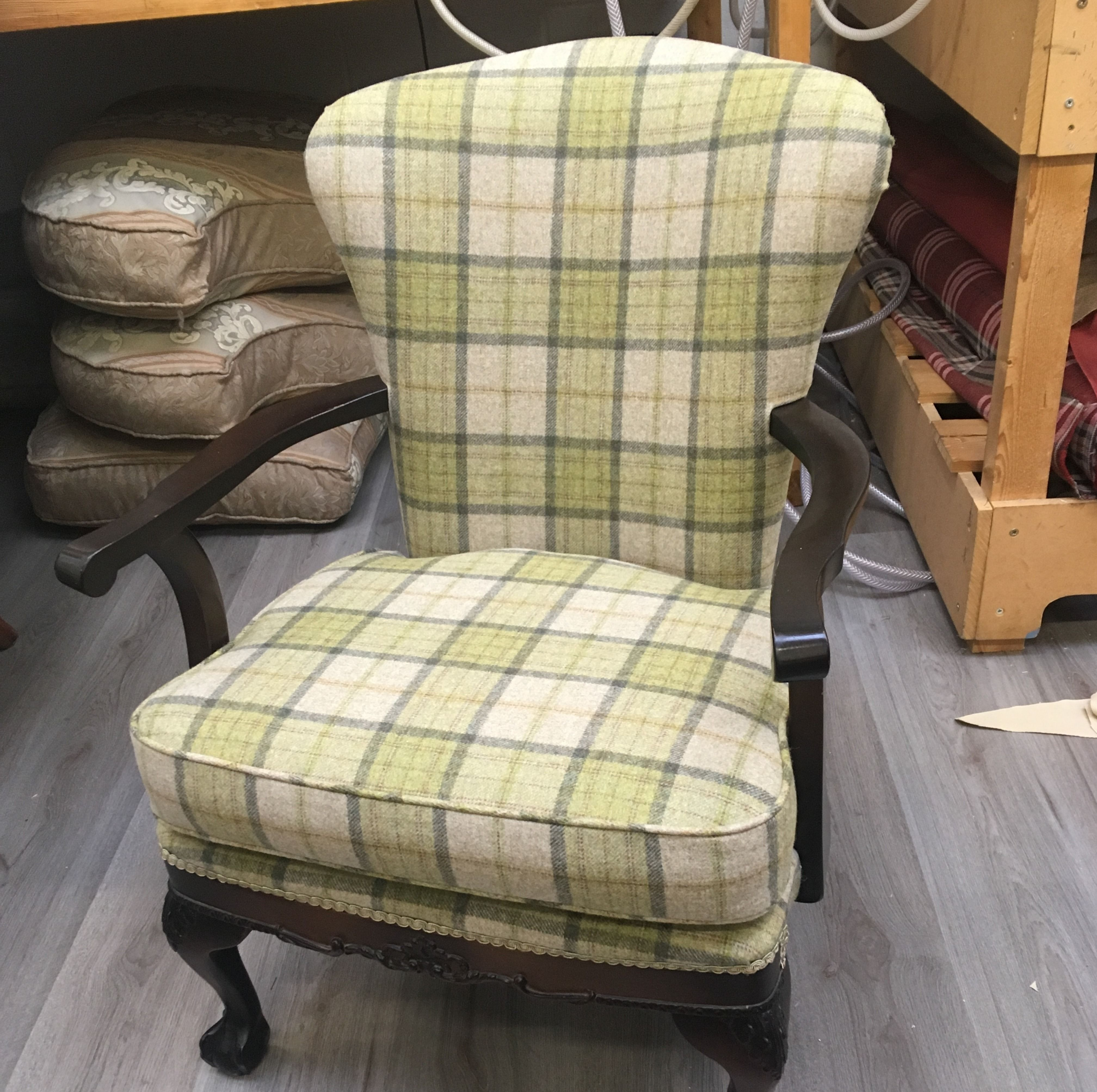 Just recovered a small chair in Abraham moon fabric. Ready